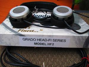 Side shot of cups, and original box for the HF-2 headphones.