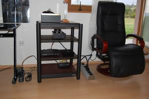 Assembled audio equipment before setup