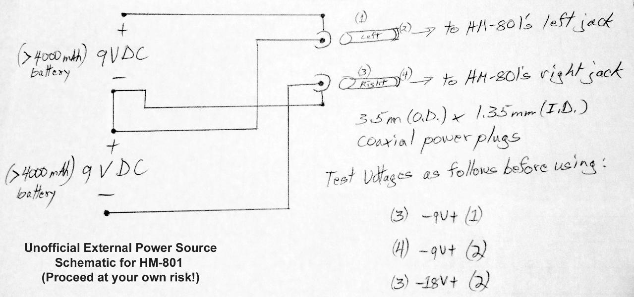 Unofficial schematic for supplying the HM-801 with external DC power