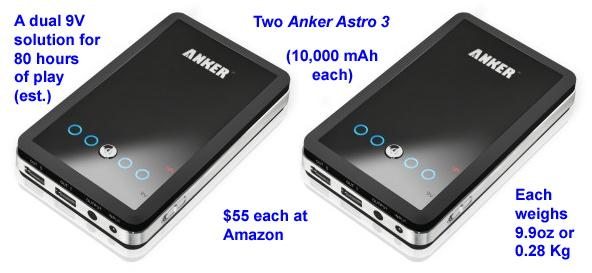 Anker Astro 3 10,000 mAh battery packs (x2) for use as external 9V DC power supplies with the...