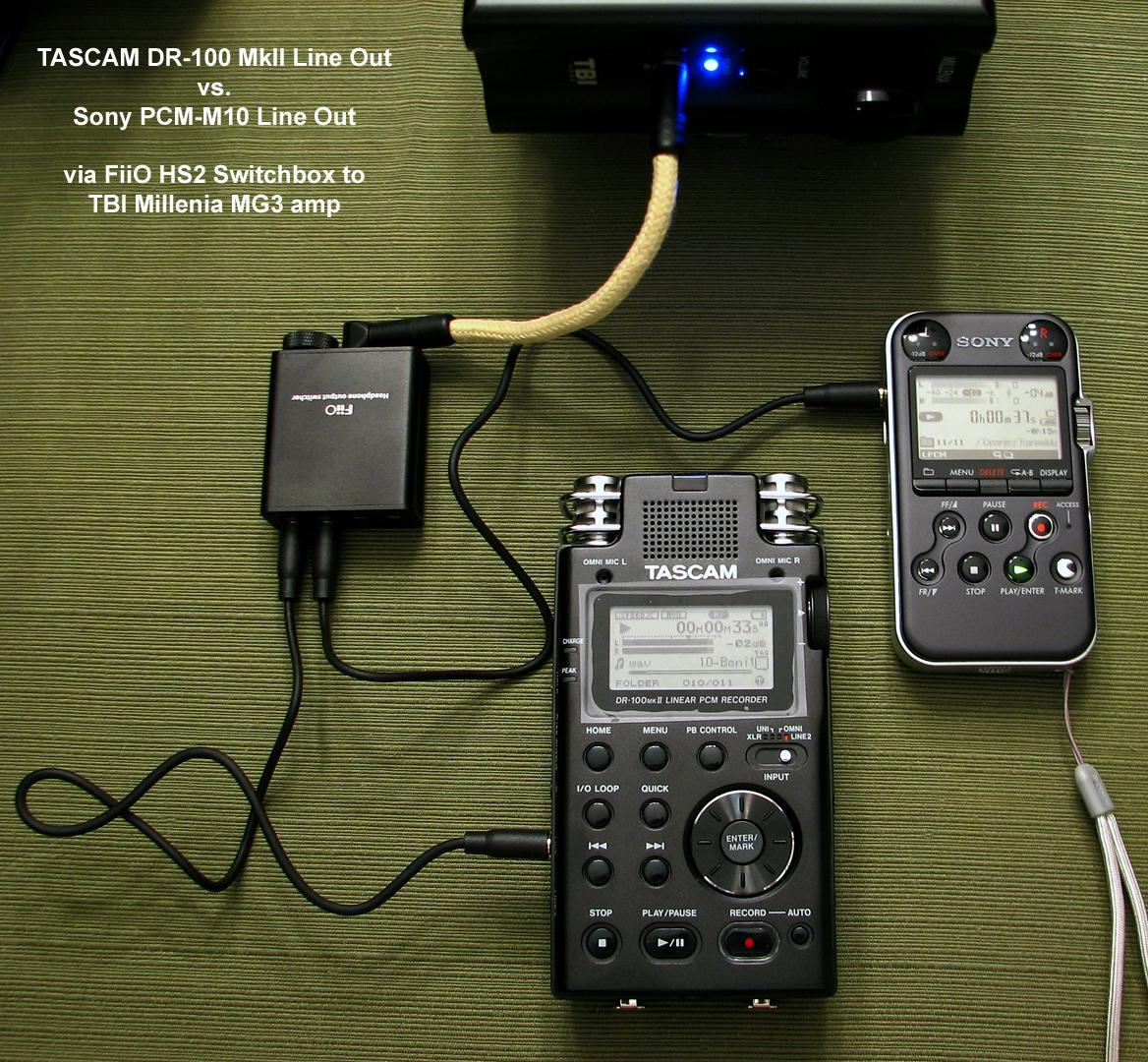 TASCAM (Teac) DR-100 Line Out vs. Sony PCM-M10 Line Out.  The Sony PCM-M10 wins!
