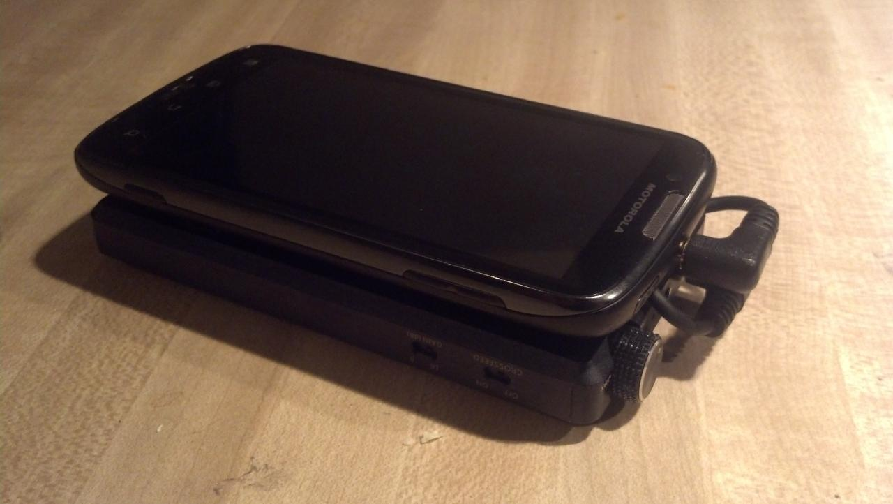 FiiO E12 Mont Blanc & Motorola Atrix 2. Secured by low-profile velcro strips (very, very...