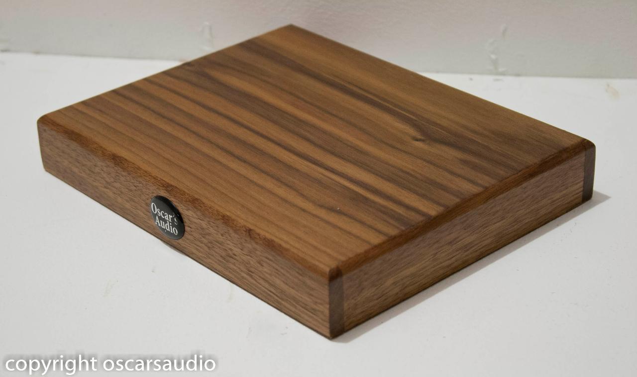 Isolation plinth solid walnut frame with walnut veneer<br /> <br /> www.oscarsaudio.co.uk