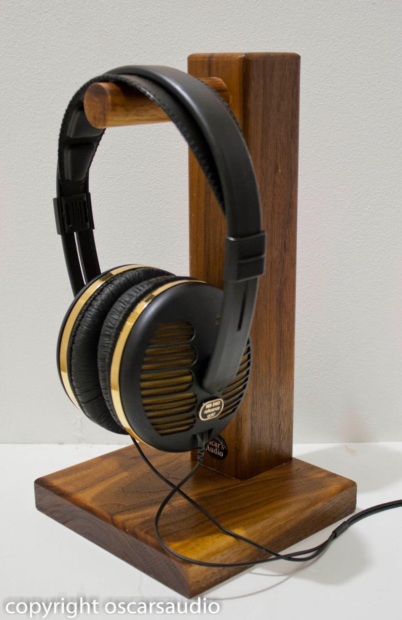 solid walnut headphone stand<br /> www.oscarsaudio.co.uk