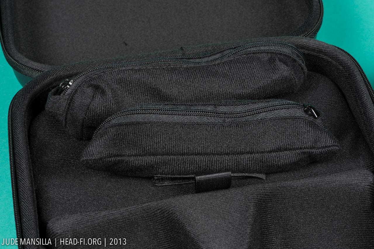 Shure SRH1540 carrying case opened up, showing the two cable pouches.