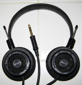 Black Grado SR325 with silver lettering/pink drivers