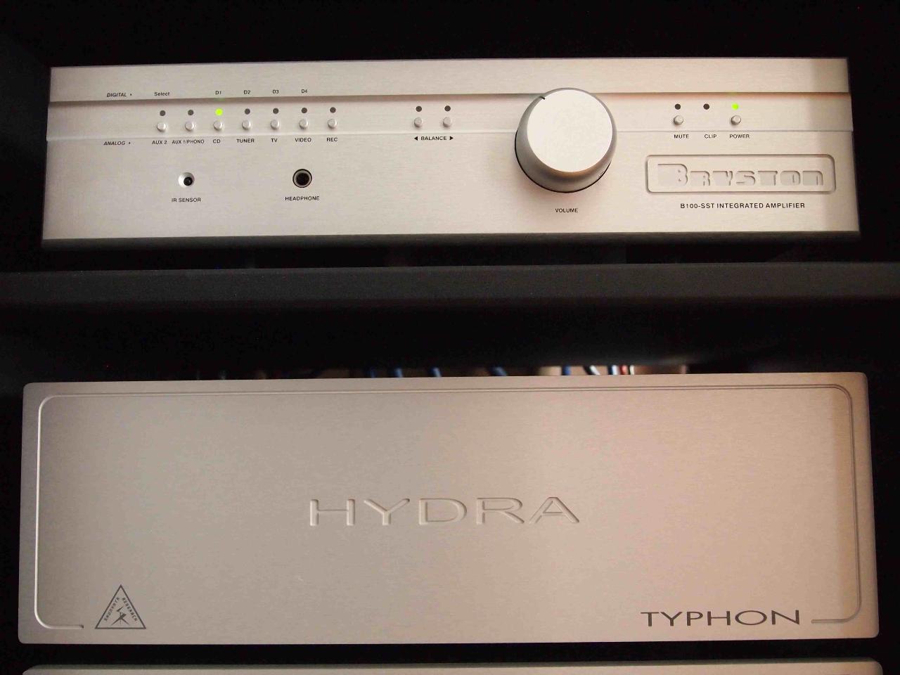 Bryston B100 amp,<br /> Shunyata Typhon power conditioner