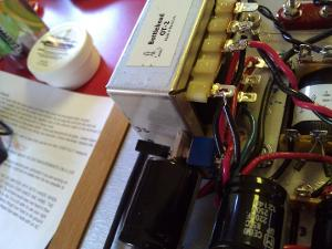 The right channel OT with DPDT switch.  It is a little crowded, but easy to get to for a quick...