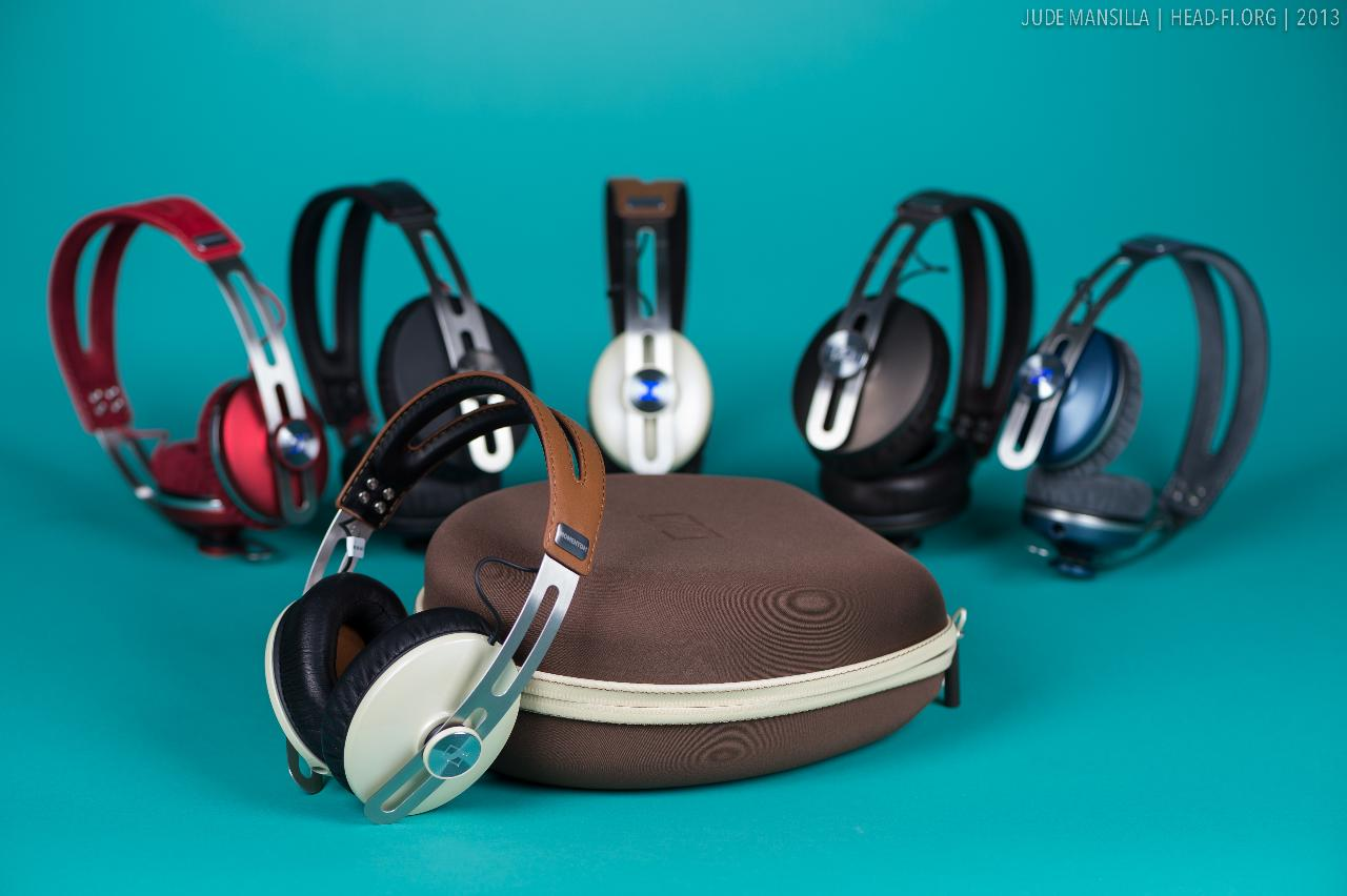 Sennheiser MOMENTUM Ivory, surrounded by some of its MOMENTUM (On Ear and Over Ear) siblings.
