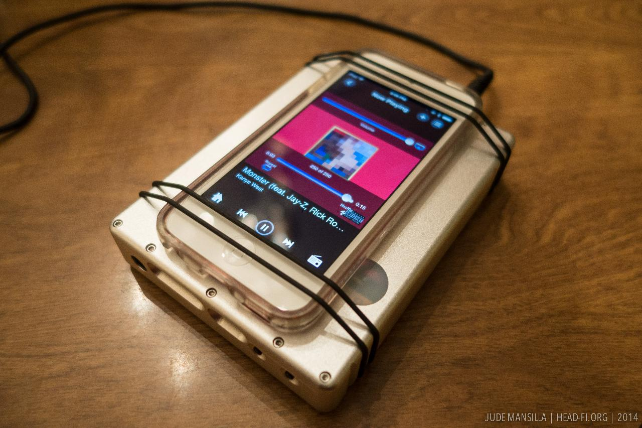 Chord Hugo, Bluetooth-paired with an Apple iPod Touch 64GB, playing music with MOG. At the time...