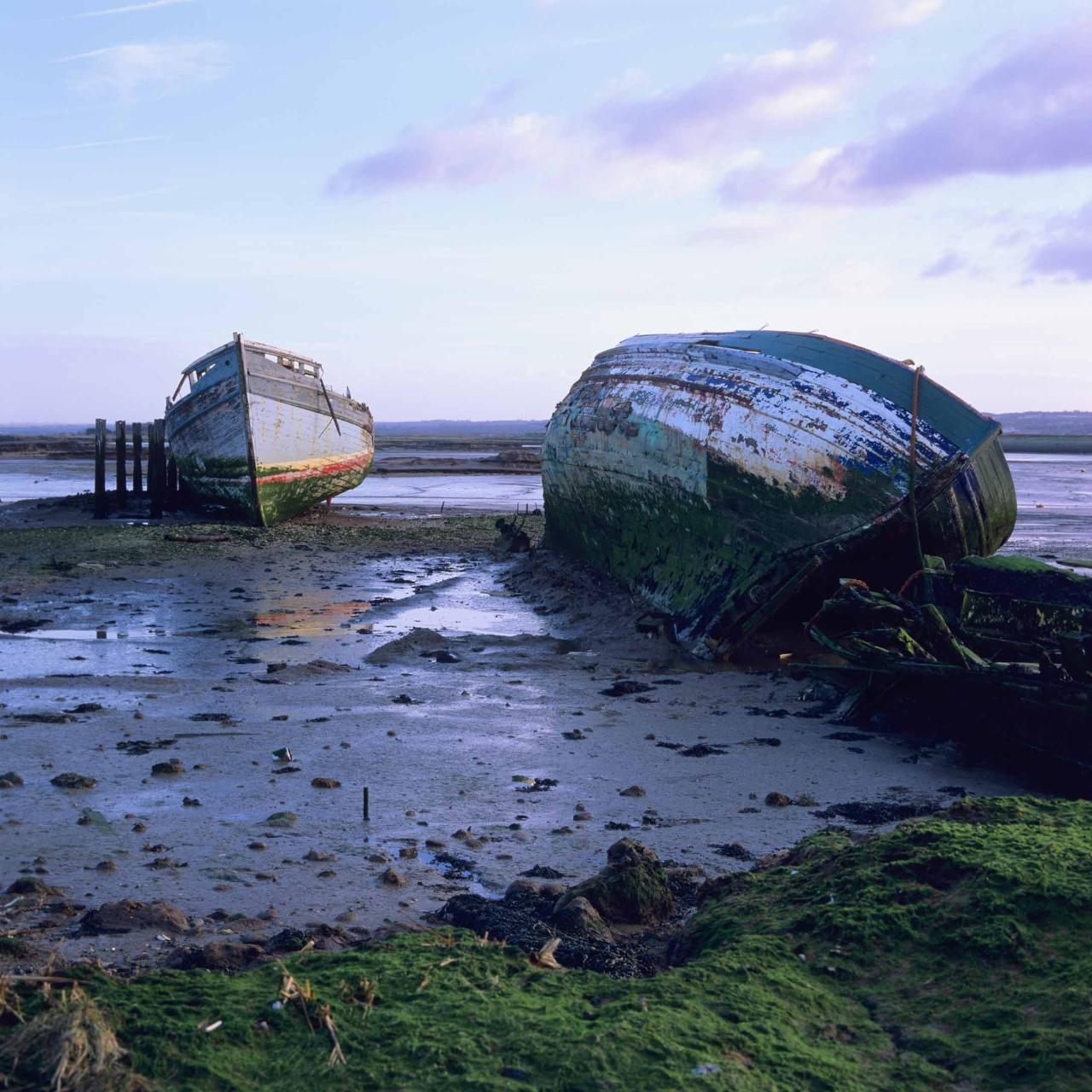 Decaying boats on the river Medway, U.K near Upnor, 1998.  Bronica SQAi, Zenzanon PS 80mm, Fuji...