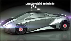 beats wireless (monster) rims on Lamborghini Embolado super car photo manipulation art