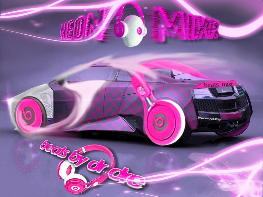 beats mixr headphones in pink colour / Lamborghini  photo manipulation art