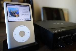 Rockboxed iPod Classic with the Basta theme, and the EMU 0204 USB