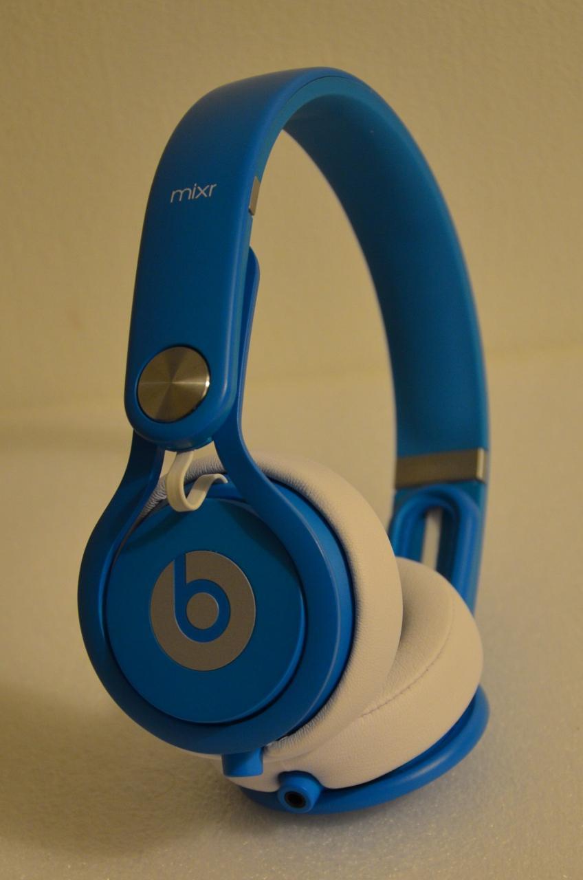 beats mixr headphones in neon blue colour