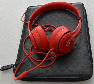 Red beats solo2 connected directly to iPad with Armani cow skin cover