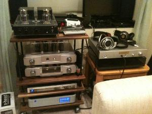 Top to bottom - Eddie Current ZDT, Woo WES, Samsung DVD, PS Audio Perfectwave DAC, with NAD 555...