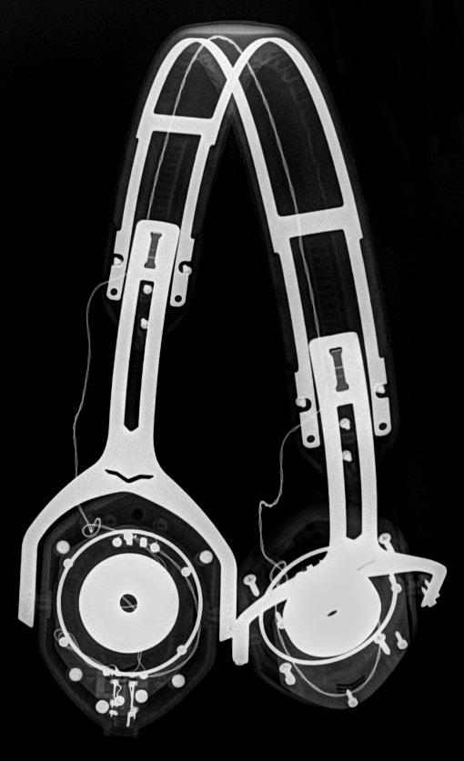 "Oblique Radiograph of V-Moda V-80. Done at 45kVp at 5 mAs, 40"" SID. Very dark, very high..."
