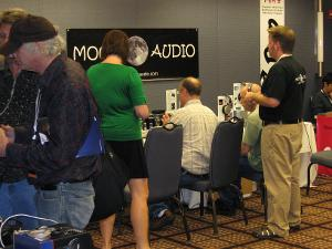 That's Dreq of Moon Audio on the right, and one of the few women at the show on the left....
