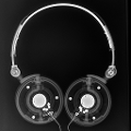 An antero-posterior/lateral view of the AKG K518. Just as in the AP view, there is asymmetry of the folding mechanisms. The wires are also different between each earcup. Perhaps they are hastily...