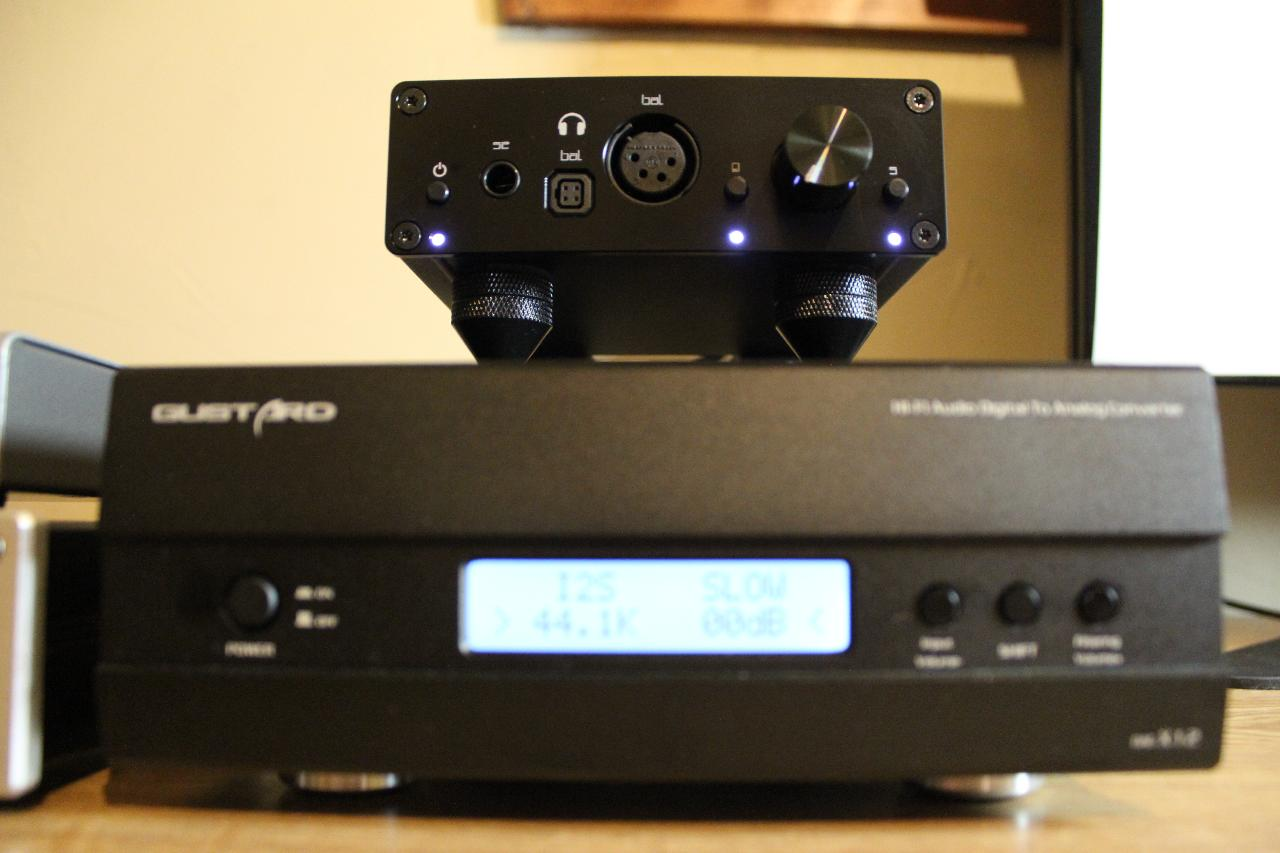 Liquid Carbon stacked on a Gustard DAC-X12 using Dayton Audio ISO Cones.