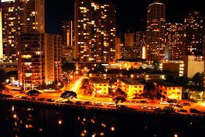 View from lanai at night