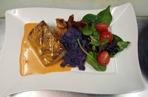 Grilled Ahi_spicy cream sauce_mashed sweet potato, spinich salad.jpg