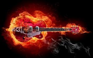 Burning guitar flames