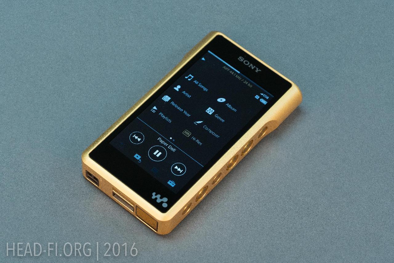 Sony Walkman NW-WM1Z showing pre-production user interface (UI).