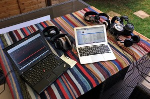 Afternoon on the deck revising for an interview with my besties