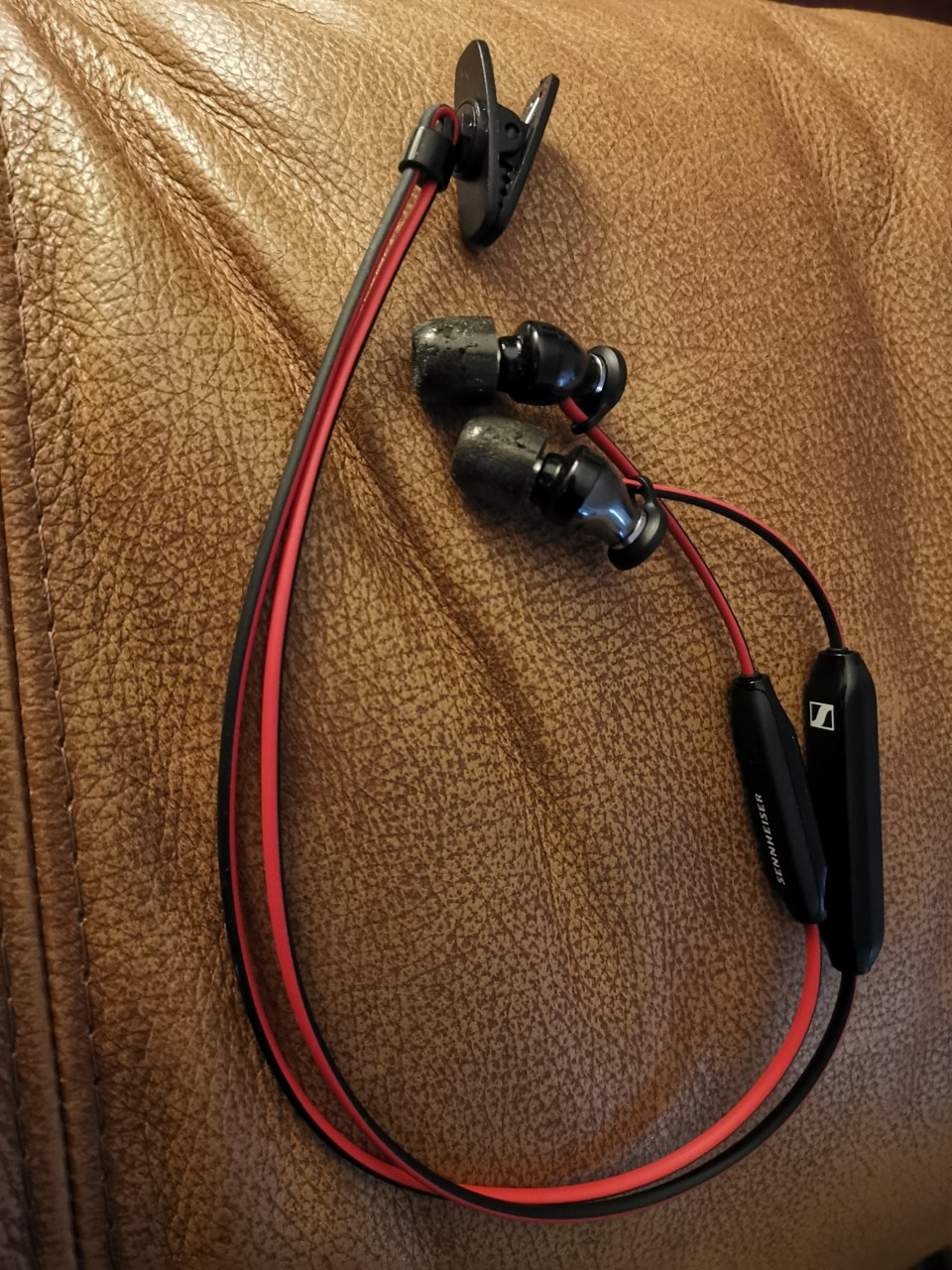 Sennheiser HD1 Free IEMs with swivel shirt clip added and Comply Foam Tips