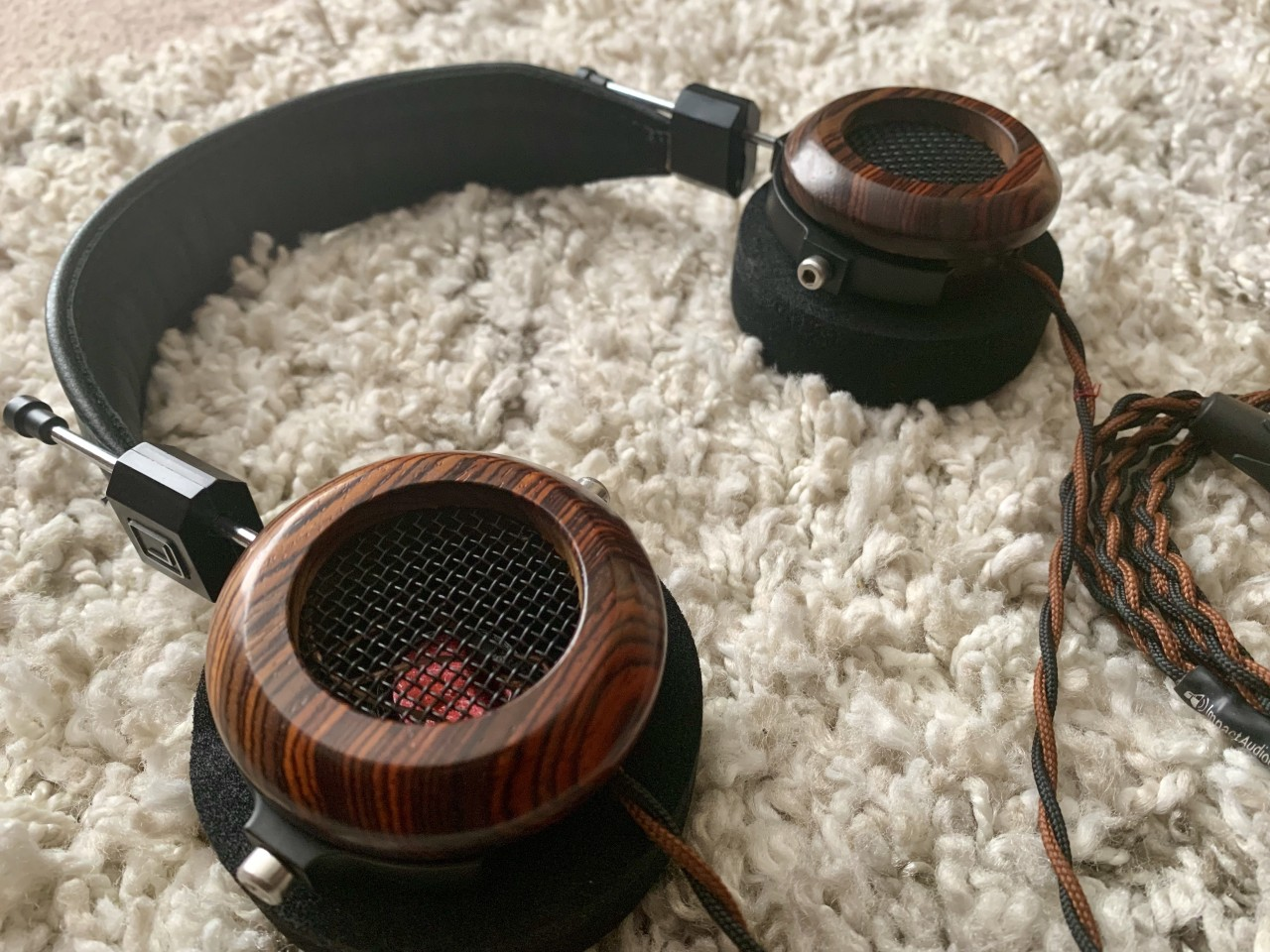 Grado 325e in custom cocobolo cups from SpinAF, with custom OFC cable from Impact Audio, padded...