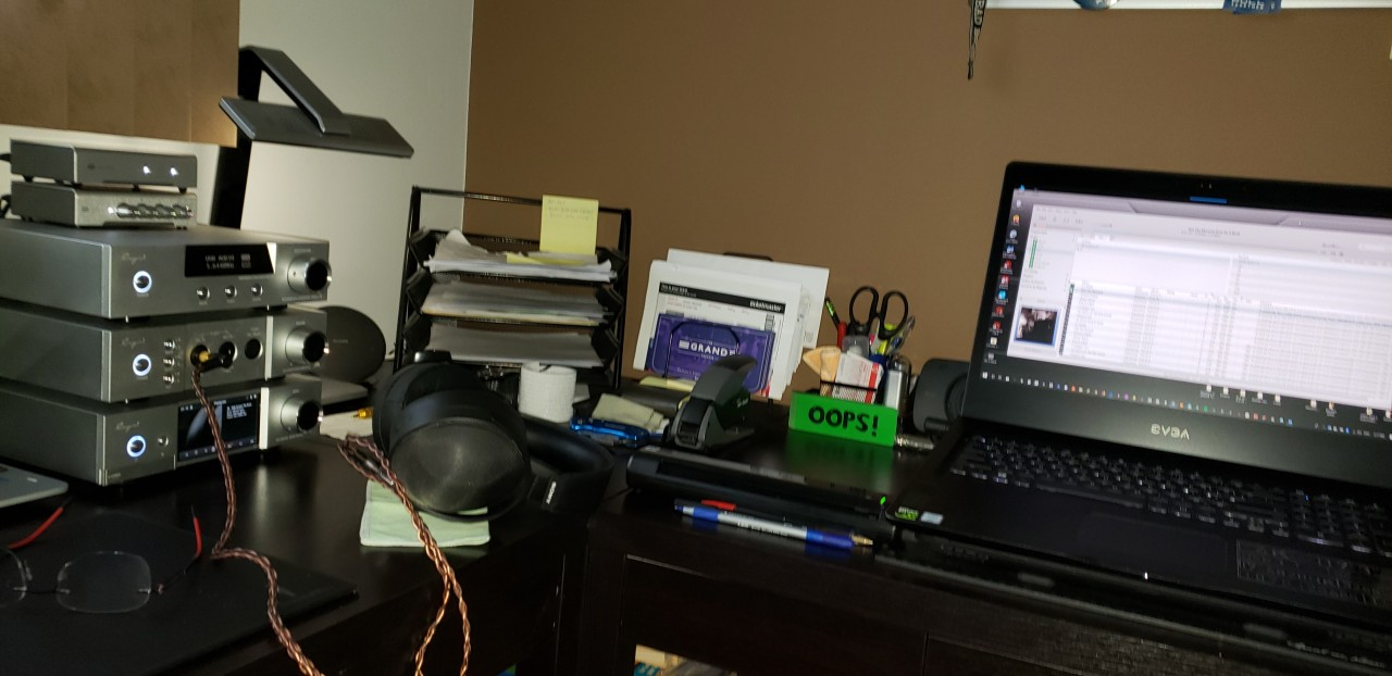Cayin iHA-6 Amp Cayin iDAC-6 and Cayin iDAP-6 Streamer - Schiit Wyrd/Loki, accompanied by Sony...